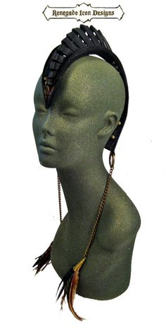 mohawk leather head piece burning man edgy by Renegadeicon on Etsy