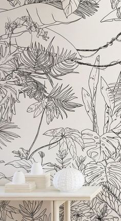 Top Trending Wallpaper Designs ~ oneplustwo design co. Wallpaper for the wall design and ideas Mural Art, Wall Murals, Room Wallpaper, Jungle Wallpaper, Nature Wallpaper, Tropical Wallpaper, Wallpaper Designs For Walls, Iphone Wallpaper, Print Wallpaper