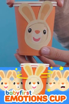 A fun and simple craft to make to teach your little one about emotions and expressions with paper cups! They can spin the cups and play for hours! Use it as a fun game or a great way to teach them to express their emotions. #toddlers #babies #prek #Preschool #children #kids #preschoolers #emotionaldevelopment #emotions #faces #game #diy #simple #easy #papercup #craft #activity #indoorcraft #indooractivity #homepreschool #homeschool #babyfirst #babyfirsttv #harrythe bunny Hand Crafts For Kids, Creative Activities For Kids, Animal Crafts For Kids, Toddler Learning Activities, Toddler Crafts, Preschool Activities, Diy For Kids, Paper Cup Crafts, Paper Cups