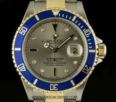 Rolex Steel & Gold Oyster Perpetual Serti Dial Submariner Date B&P 16613
