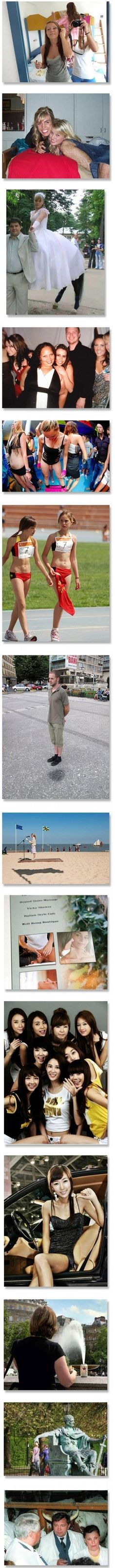 Picture illusions from pictures taken at just the right time making them seem like something they're not.