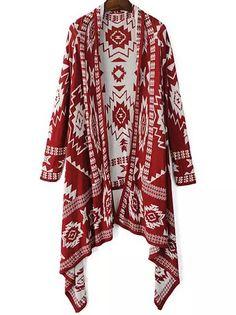 Red Tribal Geometric Print Knit Cape