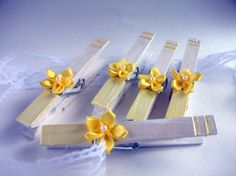 Sunshine Yellow Hand Painted Clothes Pins set of 5 by witnwhim, $8.00