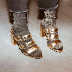 Denim, sparkly socks and gold shoes. Love this casual but fancy look for a holiday party or even New Years Eve.