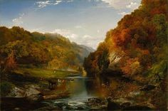 """Thomas Moran (American, 1837-1926), """"Autumn Afternoon, the Wissahickon"""" (1864) Oil on canvas, 76.8 x 114.9 cm Chicago, Daniel J. Terra Collection"""