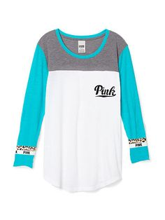 Boyfriend Jersey PINK  LJ-334-142 (6UR) 29.95 Throw on this easy top with stripes on the sleeves for a sporty, everyday look. Only by Victoria's Secret PINK. Oversized Curved hem Classic cotton jersey blend Longer, tunic length Imported cotton/polyester