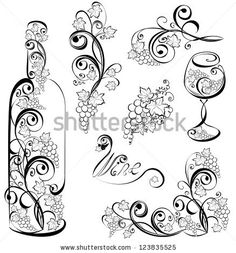 Wine Glass Tattoo | Vector wine design elements. Wine bottle and wineglass with grapevines ...
