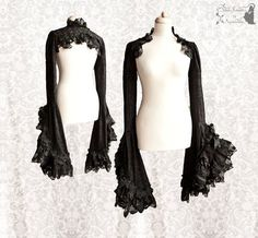 Shrug lace Victorian bolero Steampunk goth by SomniaRomantica Gothic Fashion, Victorian Fashion, Victorian Gothic, Emo Fashion, 80s Party Outfits, Circus Outfits, Steampunk, Black Lace Fabric, Diy Vetement