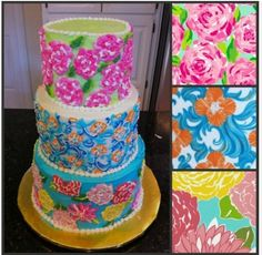 Lilly Pulitzer inspired cake! Too Cute!
