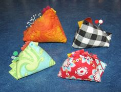 Head over to Riley Blake's Cutting Corners College for a tutorial by Deonn from Quiltscapes showing how to turn two squares of fabric into a cute little spring chicken pincushion. Fabric Crafts, Sewing Crafts, Sewing Projects, Diy Crafts, Scrap Fabric, Craft Projects, Sewing Hacks, Sewing Tutorials, Sewing Ideas