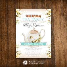 Adult Birthday Invitation Tea Party Girl Birthday Invite Printable INSTANT DOWNLOAD - Teaport & Teal Floral Retro Flyer, Editable