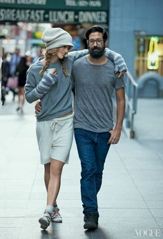 Greg Chait (with model Raquel Zimmermann), who started out in 2007 with heavy-gauge cashmere blankets.