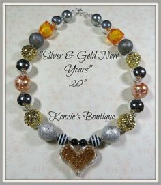"""""""Silver & Gold New Years"""" Chunky Beaded Necklace, Photo Prop, New Years Eve SALE"""