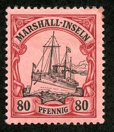 Marshall Islands 1901 Scott 21 80pf lake & black/rose
