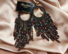 Maxi Brinco com Cristais Argolas Earrings Beads Franjas Boho Brinco de miçanga  >>>>facebook.com.br/athelieriaccina