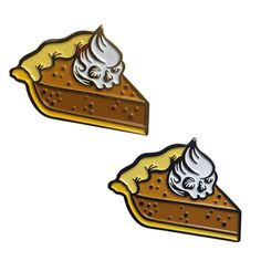 """Repost @twoghoulspress To commemorate a past event you kill and eat an animal. It's a ritual sacrifice. With pie. - Anya from Buffy Death by pie... I can get on board with that. Grab yourself a slice in either black or gold metal. Pin Details: -1.25"""" -1 Post -Soft Enamel -Rubber Clutch http://ift.tt/21YfgvX (Posted by https://bbllowwnn.com/) Tap the photo for purchase info. Follow @bbllowwnn on Instagram for the best pins & patches!"""
