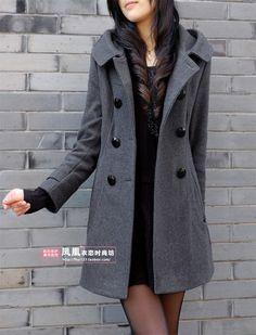 Hooded Double Breast Women Wool Trench Coat