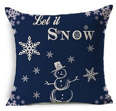 Popular Christmas Snowman Blue Design Throw Pillow Case Personalized Cushion Cover NEW Home Office Decorative Square 18 X 18 Inches Christmas Gift ** Click image for more details.