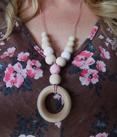 Nursing Necklace, Teething Necklace with Pink & White Crochet Beads, Wood Beads and Wood Teether Ring - pinned by pin4etsy.com