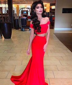 Classy Prom Dresses, Red Satin Prom Dresses Long Mermaid Sleeveless Evening Dresses Off Shoulder Formal Gowns Sexy Two Piece Party Pageant Dresses for Teens Girls Prom Dresses Long Red Satin Prom Dress, Prom Dresses Two Piece, Simple Prom Dress, Prom Dresses Long With Sleeves, Sexy Dresses, Dress Prom, Dress Wedding, Short Sleeves, Dress Piece