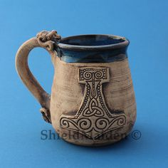 Beautiful Hand Thrown Viking Mugs, Viking, Asatru, Pagan