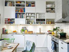 Kitchen idea #2 - loving the idea of adding colours to a white kitchen like this.
