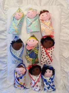 Swaddle Baby  PDF Doll Pattern with 9 Faces & 9 Hair Variations! Easy Cloth Doll Pattern by Peekaboo Porch