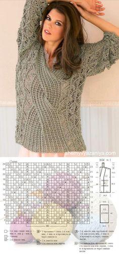 Пуловер кружевным узором с центральной косой | Золотые Руки | вязание | Постила
