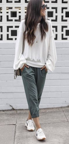Casual Style Perfection White Top Plus Pants Plus Loafers