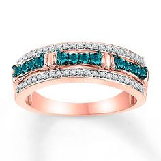 Blue & White Diamonds 1/2 ct tw Round-cut 10K Rose Gold Ring