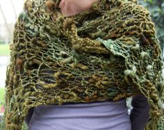 Hand Knit Shawl Beautiful Olive Green Shades  made of by bpenatzer, $128.00