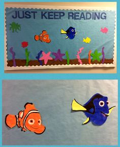 Finding Nemo - Nemo and Dory - Just Keep Reading - Library Bulletin Board