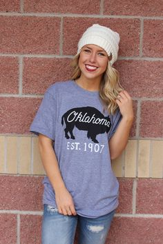 Oklahoma bison unisex t-shirt. Let me know you're an oklahoma babe or bro in this easy to wear, comfortable unisex tee. Perfect worn with a plaid top and CC beanie. Unisex American Apparel tee. 50% po