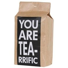 Gift idea: Fill a bag (or basket) with assorted teas, tea biscuits, a cute mug or two, and finish it off with a label like this.