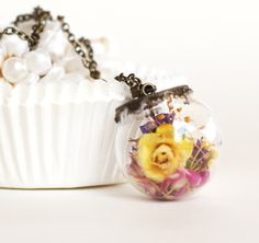 Natural dried flowers in a glass Bridesmaid pendant by petitesalu, $19.00