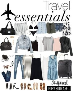 Packing light summer, summer traveling outfits, travel wardrobe summer, c. Travel Packing Outfits, Packing Clothes, Travel Capsule, Vacation Packing, Travel Outfit Summer, Vacation Outfits, Travel Wardrobe Summer, Traveling Outfits, Packing Tips
