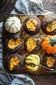 Fall Harvest Black Bottom Cupcakes