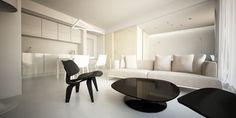 wnętrza Nordic Lights | projekt aranżacji mieszkania Kraków - salon zkuchnią