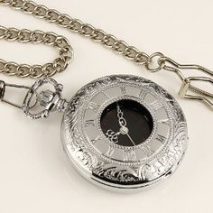 #2: New Mens Stainless Steel Case Black Dial Roman Numbers Antique Pocket Watch with Chain.