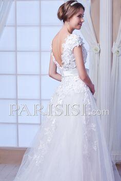 vestidos de novia Blanco Elegante Moderno Glamouroso Corto Cremallera Cristals Flors Hasta Suelo Corazón Corte A Tul