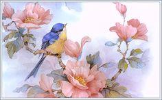 Flores y pajaros para imprimir , hermosos pajaros con todos los detalles y delicadas flores, pajaros en sus pajareras, o entre ramas de arbo...