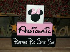 Items similar to Personalized Minnie Mouse Wood Sign Shelf Blocks Dreams Do Come True Nursery Kids Room Decor Baby Girls Boys Kids on Etsy Minnie Mouse Nursery, Minnie Mouse Baby Shower, Disney Nursery, Mickey Minnie Mouse, Girl Nursery, Nursery Ideas, Bedroom Ideas, Future Baby, Baby Love