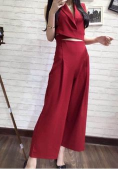 Stylish Lapel Solid Color Sleeveless Blouse + Wide Leg Pants Twinset For Women