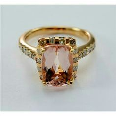 ~Hp~14K Rose Gold morganite & dimnd ring Stunning!! Accepting offers, concierge ~~14K Rose Gold Stunning Halo Style Diamond Anniversary/statement ring w/Gorgeous Morganite Center Stone.  ~~Est.Retail Value: $3,499.  ~~TW:5.95 Gms. Metal: 14 Karat Rose Gold ring Gemstone: Morganite, Diamond.  Morganite Wt: 3.50 Carats Diamond Wght:0.67 Ct t.w. Diamond: H-I Diamond Clarity: SI2-I2 ~~Ring Size: 7. Width: 12.40 mm/12.50 mm bottom. **Appraisal included** Condition: Very Good  HP BY…