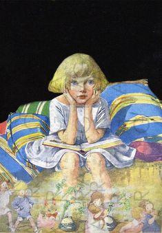ilustración vintage de autor desconocido Girl Reading, Cute Little Girls, Girls Dream, Vintage Images, Art History, Illustrators, Books To Read, Fairy Tales, Children