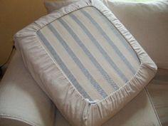 Easy DIY Drawstring Seat Cushion Cover