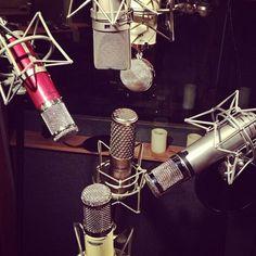 """Can You Hear Me Now?"" haha:)  #Mics Galore @ ES Audio Recording Studio in L.A.:)  #Rock On!:)  www.esaudio.com 2013"