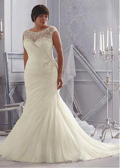 comprar Organza Encanto satén y tul escote joya natural de la cintura de la sirena más el vestido de boda del tamaño Con Listones bordado de descuento en Dressilyme.com