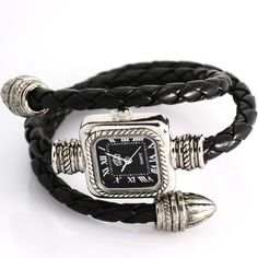 uSs Black Cable Leather Braided Wrap Around Ladies Womens Bracelet Bangle Wrist Watch uSs. $10.62