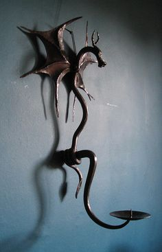 Blacksmith made Dragon Candle Sconce by Adrian The Smith at Trinity Forge, via Flickr